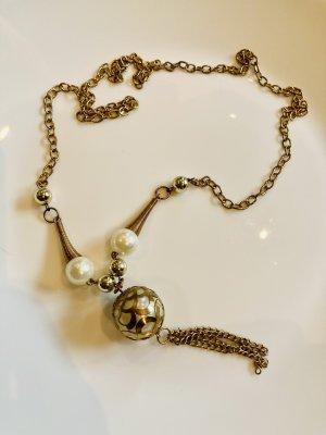 Chaîne en or blanc cassé-bronze