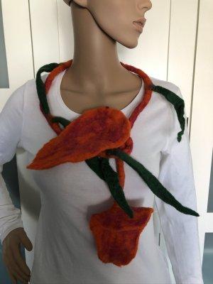 Kette Filz Band Gürtel mit Blüten orange 134 cm
