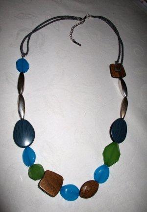 Kette gliederkette Glassteine lange Perlen Halskette silberfarben türkis petrol holzfarben und andere Elemente türkis Tönbe braun silber