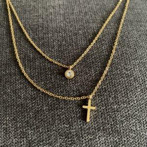 Kette gold wasserfest Kreuz
