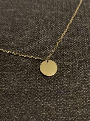 Kette gold wasserfest Münze ca 1cm