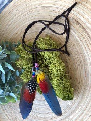 Kette Haarschmuck 2 Federn 7,5x3 cm Velourslederband braun Lapislazuli Boho Ethno Indie Design