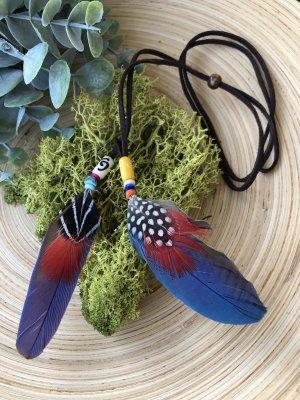 Kette Haarschmuck 2 Federn 8x2,5 blau Halbedelsteine Velourslederband braun Boho Ethno Indie Design