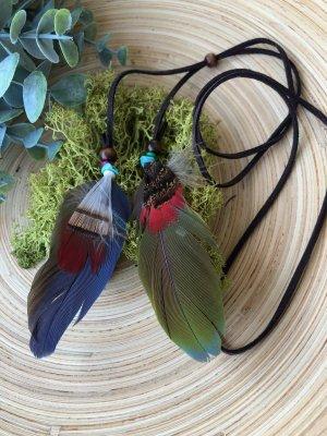 Kette Haarschmuck 2 Federn blau grün 9x3 cm Velourslederband braun Türkise Boho Ethno Indie Design