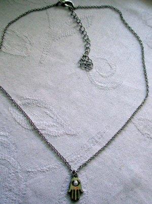 Kette Halskette Kette Gliederkette mit Anhänger Hand Perle GOOD LUCK Motiv silber farben verstellbar NEU