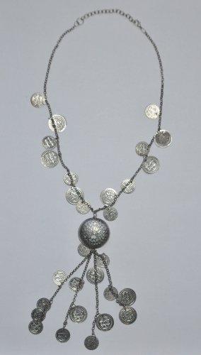 Kette Halskette mit Münzen silberfarben Modeschmuck Boho Ethno Style