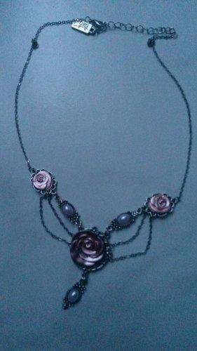 Kette Halskette Statementkette Blumen Rose floral geblümt fit and flaire chocker verstellbar Trachten Dirndl ROSA
