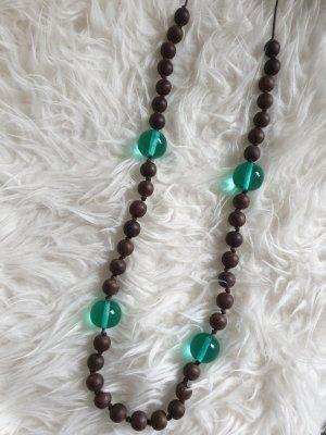 Kette Halskette türkis braun Perle Holzperle