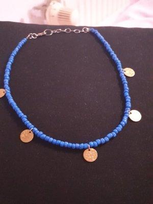 Collana di perle oro-blu