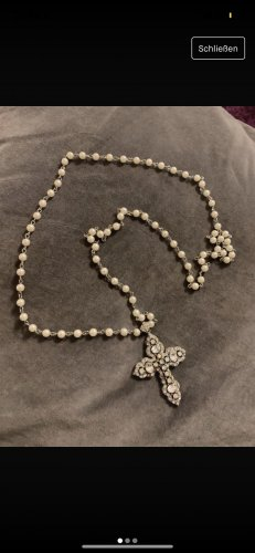 Pearl Necklace natural white-silver-colored