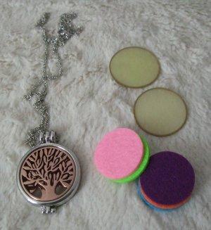 Kette Medaillon Lebensbaum mit 5 Duft Pads Aromatherapie
