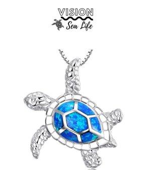 Vision Sea Life Collier incrusté de pierres argenté-bleu