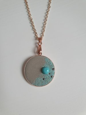 Chaîne à maillons or rose-turquoise
