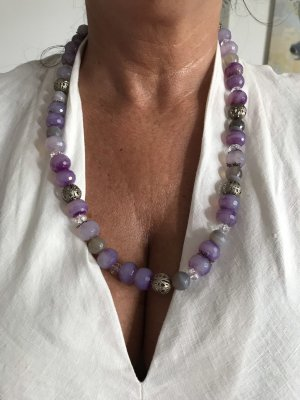 handmade Statement ketting paars-zilver