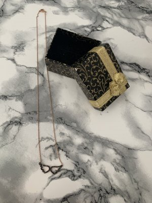 Srebrny łańcuch w kolorze różowego złota-czarny