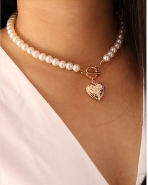 Star style Pearl Necklace white-gold-colored