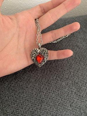Collar color plata-rojo