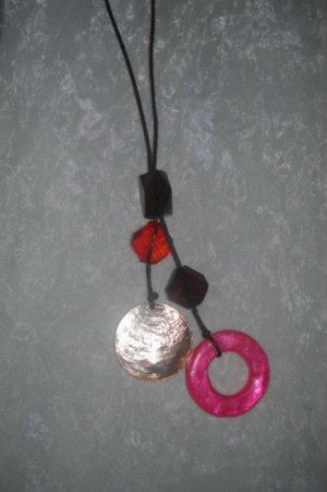 Kette mit Lederband braun h m Anhänger Glassteine Permutt neon pink bronze braun