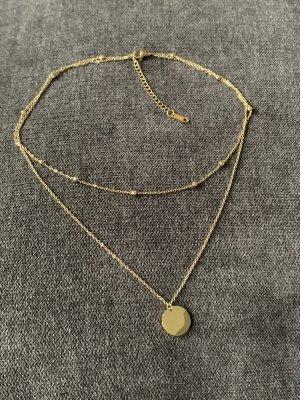 Kette mit Münze gold wasserfest zweireihig