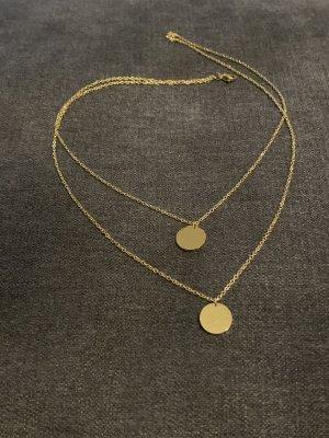 Kette mit Münzen zweireihig gold wasserfest