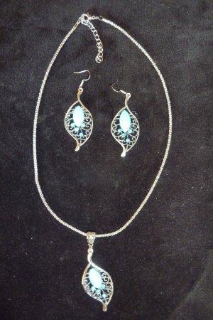 Kette mit Ohrringen- Blatt mit Steinbesatz - Türkis/Silber - Ungetragen