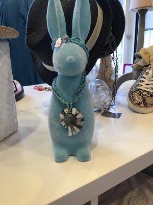 Shell Necklace black-light blue mixture fibre