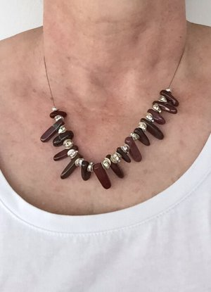 no name Statement Necklace bordeaux-silver-colored mixture fibre