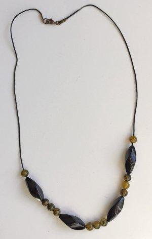 Kette mit Web Achat Perlen - 65 cm lang