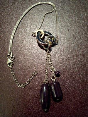 Collier argenté-violet foncé métal