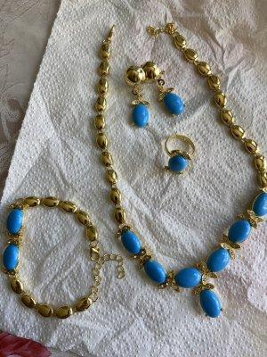 Collier doré-bleu