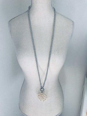 Naszyjnik z perłami srebrny-szary