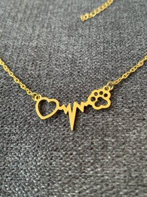 Kette Pfote Herz Herzschlag gold Modeschmuck