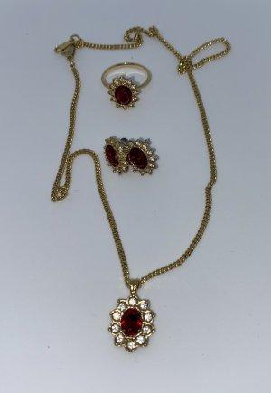 KETTE - RING - OHRRINGE - goldfarben mit roten und weißen Steinchen!!