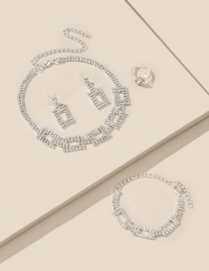 100% Fashion Zilveren ketting lichtgrijs