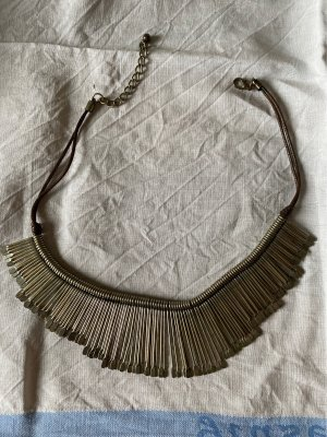 Collier incrusté de pierres argenté-brun foncé