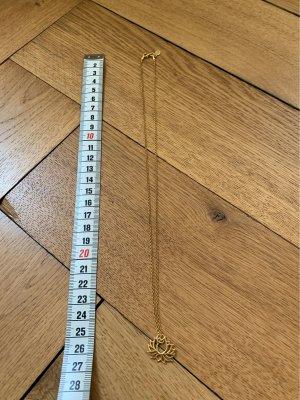 Kette Silber vergoldet mit Lotusanhänger 50 cm