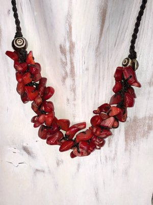 Handmade Collar rojo oscuro-marrón oscuro