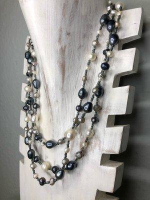 Handmade Collier de perles gris anthracite-blanc cassé