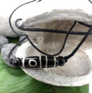 Kette Surfer Yak Bone Maori Design länglich 2,5x0,7cm schwarzbraun Baumwollbändchen schwarz