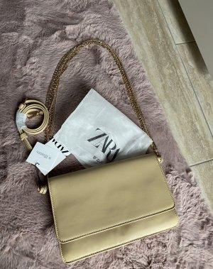 Kette Tasche echt Leder Umhängetasche beige Gold