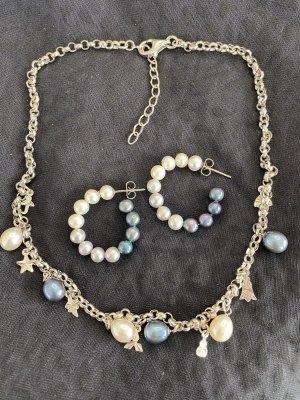 Kette und Creolen mit Perlen
