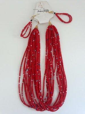 Collana di perle rosso mattone-azzurro