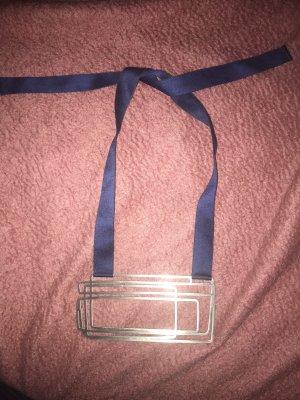 COS Collier zilver-donkerblauw