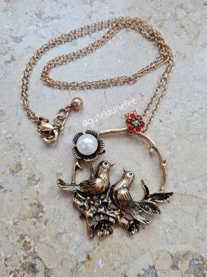 Ketten Anhänger & Halskette antikbronzefarben mit Kunstperle * 2 Vögelchen