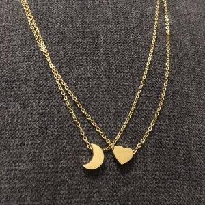 Ketten Bundle Mond und Herz gold aus Edelstahl