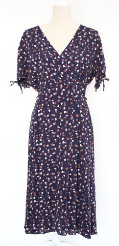 Kew 159 Kleid Midikleid blau braun weiß M 12 38