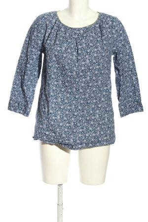 kew 159 Schlupf-Bluse blau-weiß abstraktes Muster Business-Look