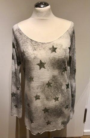 Key Largo: Leichter Pullover Weiß Silber mit Sternen Druck Gr. M guter Zustand