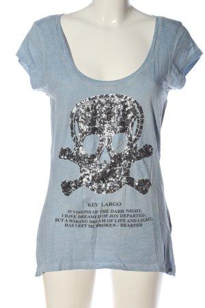 Key Largo Print-Shirt blau Motivdruck Casual-Look