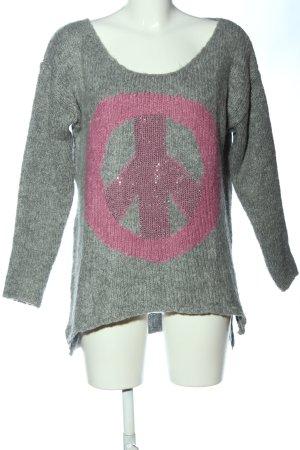 Key Largo Rundhalspullover hellgrau-pink meliert Casual-Look